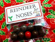 """My kids made these for their friends.  Except I used red gumdrops (for rudolf) cuz I had those on hand.  I used this quote: """"I wanted the perfect gift for you, But couldn't decide just what to do!  I almost sent you a dozen roses -  Instead, here's a bag of reindeer noses!"""""""