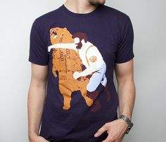 Man Punching Bear Tee - YES.