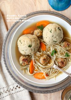 Matzo Ball Soup with Chicken Meatballs | foodiecrush.com