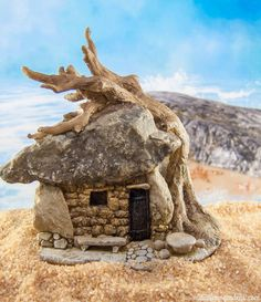 Tiny troll house for your mini fairy gardens and tiny fairy beaches.
