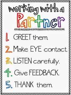 The Brown-Bag Teacher: Kagan Cooperative Learning - Working with a Partner poster freebie