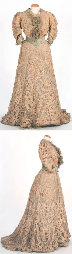Dress, ca. 1900-05. Sea-green silk taffeta under white silk mesh covered with gauze and chiffon and lined with light green cotton. Thick lace in sinuous motifs. Green velvet ribbon at waist. Textile Museum & Documentation Center of Terrassa, Spain (IMATEX)