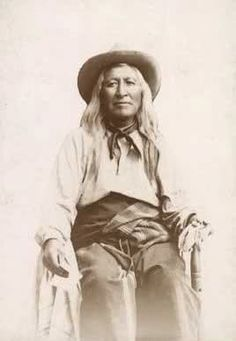 Rare photo of Washakie.  He led the Shoshone scouts under Gen. Crook at the Battle of the Rosebud, personally saving the life of Capt. Guy Henry in the middle of the battle.  He was almost 80 at the time.