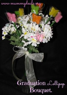 Graduation Lollipop Bouquet from #mummydeals with instructions and tips. #graduation #candy