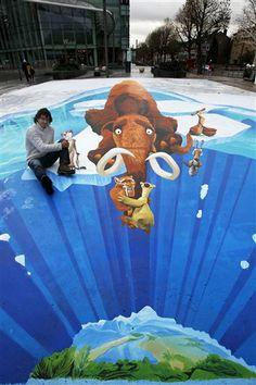street art By Edgar Mueller  - search Edgar Mueller -  all great!