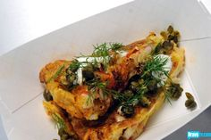 Elizabeth Binder's Crab Frittata with Cherry Tomato, Garlic Oil, and Fried Capers