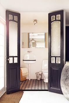 half baths, glass doors, the doors, blue doors, salvaged doors, black white, small bathrooms, master bathrooms, bathroom ideas