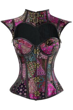 Cool colors for your steampunk look with our Atomic Purple Steel Boned Jacquard Overbust Corset with Shrug.