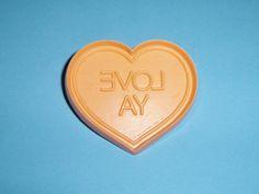 1984 Hallmark Orange LOVE YA Heart Cookie Cutter Soft Plastic Valentine's Day Cookie Cutter