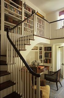 Stairs and bookshelves