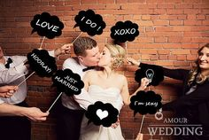 Set of 8 Wedding or Engagement Photos Photo Booth Photobooth Props Cloud Speech Bubbles on a Stick Bridal Shower Favor on Etsy, 18,46€