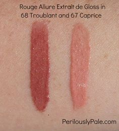 Rouge Allure Extrait de Gloss in 67 Caprice and 68 Troublant from Les Essentiels de Chanel Fall 2012 Click through for review, pics, lip swatches!