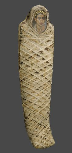 Mummy with an inserted panel portrait of a youth, 80–100 A.D.; Roman Period  Egypt, Fayum, Hawara (Hawwara, Hawwaret el-Maqta; Adlan), Petrie  Encaustic on limewood, linen, human remains