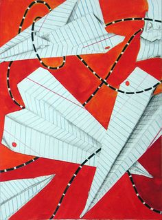 another great design piece. I like the color contrast and how there are lines which show where the paper plane has flown