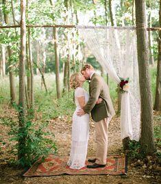 rug, vintage weddings, arch, lace curtains, bohemian weddings, vintage decor backdrops, vintage outdoor wedding, woodland wedding, green weddings