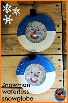 Snowman waterless snowglobe #snowglobe #winter #waterless #paperplate