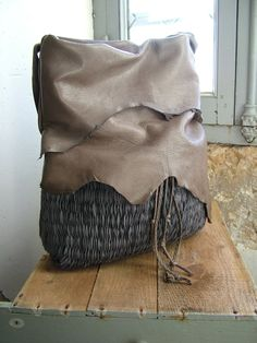 Hobo Tote in Grey Leather and Slate Grey by byloomandhyde on Etsy, $249.00