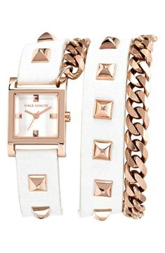 Vince Camuto Double Wrap Chain & Leather Strap Watch, 21mm available at #Nordstrom