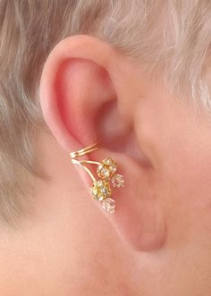 Ear Cuff Pair Faceted Crystal and Rhinestone by TheLazyLeopard, $15.00