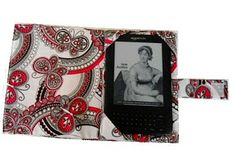 E- Reader Cover Sewing Pattern, Kindle Cover Tutorial - pocket for storage on-the-go, and sewn-in tabs while reading; velcro or snap closure.