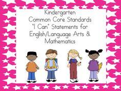 "Kindergarten ""I Can"" statements for ELA & Math :)"
