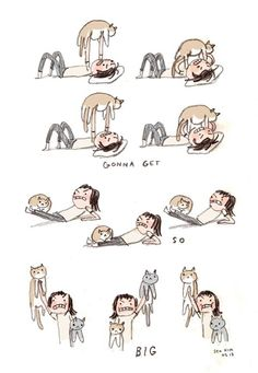 cat lady exercises LOL
