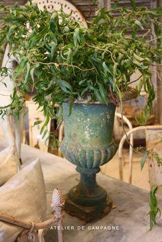 garden urn, decor, patina garden, blue, black french urn, ateli de, antiqu, atelier, french garden