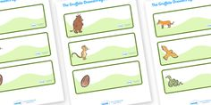 Twinkl Resources >> The Gruffalo Editable Drawer - Peg - Name - -Labels  >> Thousands of printable primary teaching resources for EYFS, KS1, KS2 and beyond! The Gruffalo, resources, mouse, fox, owl, snake, Gruffalo, fantasy, rhyme, story, story book, story book resources, story sequencing, story resources, editable drawer label, editable peg label, name labels, classroom labels,