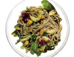 Sesame Soba Noodles with Cucumber, Bok Choy, and Mixed Greens Recipe  at Epicurious.com