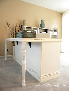 Old dresser into desk. sewing tables, old dressers, offic, craft areas, desk, craft tables, sewing rooms, kitchen islands, craft rooms