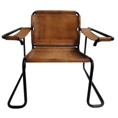 Anonymous; Painted Tubular Metal and Leather Easy Chair Prototype, 1960s.