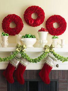 holiday, christmas wreaths, fireplac, color, christmas decorating ideas, red christmas, garland, christmas mantles, christmas mantels