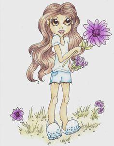 Cuddlebug Cuties: Angelique's Garden Digital Stamp