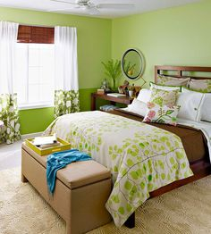 Create a relaxing bedroom by using shades of green and nature-inspired prints. Tour the rest of this bedroom here: http://www.bhg.com/rooms/bedroom/makeovers/green-bedroom/?socsrc=bhgpin121212greenbedroom green bedroom makeover, bedroom decorating colors, bedroom makeovers, best bedroom colors, bedroom decor green, green bedroom decor, bedroom nature, natural color bedroom, bedroom green