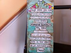 7x14 Mixed media canvas Happy Sign by heartfeltByRobin on Etsy Mixed Media Canvas, Mix Media, Mixed Media Banner, Canva Happi, Media Art On Canvas