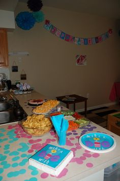 My Little Pony party food table with a view of the Birthday Banner from Ashleylz96 on Etsy.