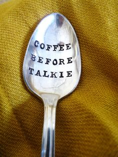 coffee lovers, life motto, gift, hand stamped, spoons, vintage, hands, morning person, cup of coffee