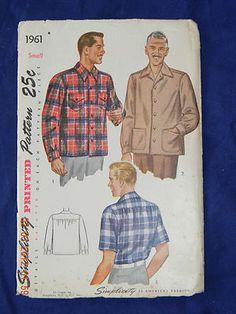 Vintage Simplicity 1961 Man's Shirt Size S