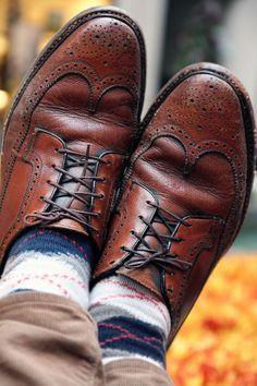 Broken-in men's shoes