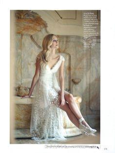 VOGUE NOVIAS SPAIN – SS 2012 #bride #wedding #albertaferretti #editorial #magazine #fashion #white #dress #vogue #poppydelevigne