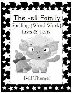Classroom Freebies Too: Fern Smith's -ell Family Spelling Lists & Tests Freebie!