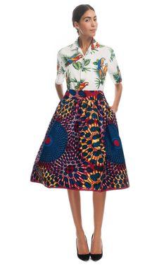 Stella Jean Printed Wax Cotton Full Skirt at Moda Operandi