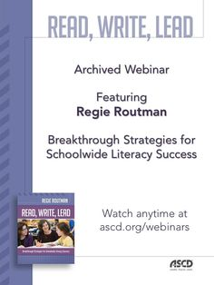 This archived webinar describes how to increase reading and writing achievement, engagement, and enjoyment for all students.