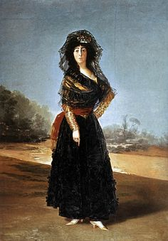 """A bit hard to """"spot"""" but  she is wearing a large patch at her temple.  1791 Duchess of Alba by Francisco José de Goya y Lucientes"""