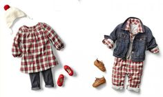 Plaid holiday outfits from babyGap for a more casual, comfy look. Very cute.