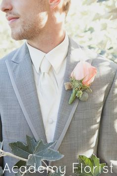 Beautiful #peach #boutonniere with burlap accent and succulents. by @Academy Sports + Outdoors Florist