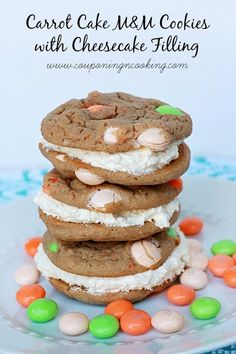 Carrot Cake M&M Cookies With Cheesecake Filling