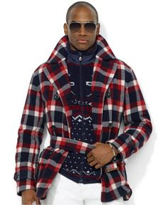 Polo Ralph Lauren Jacket, Double-Breasted Plaid Wool-Blend Jacket - Men - Macy's