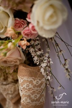 Burlap and lace bouquet handle | Sarah Marie Photography