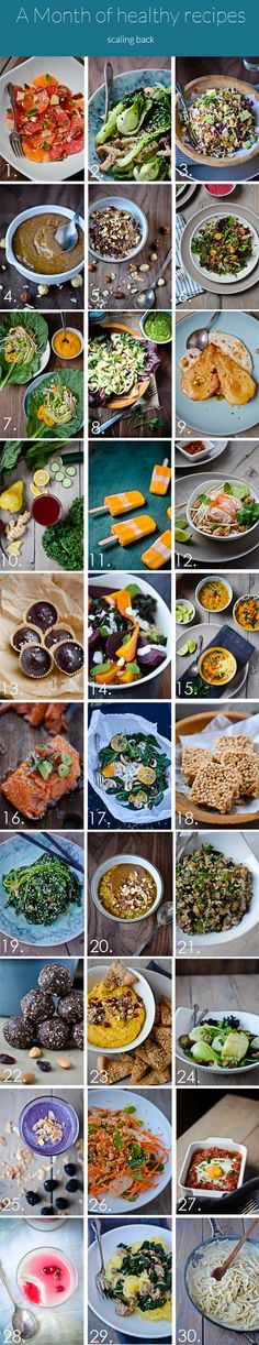 30 days. 30 recipes - a whole month of healthy recipes - www.scalingbackblog.com